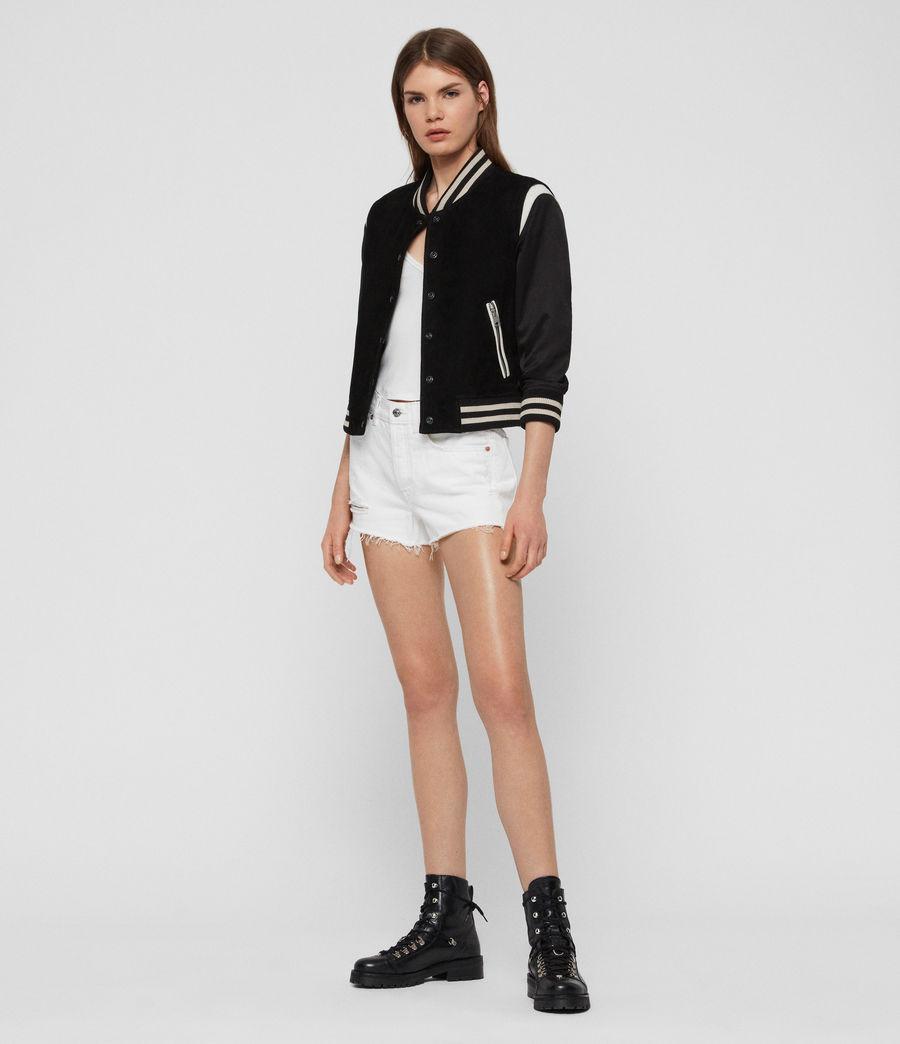 Womens Keiko Suede Bomber Jacket (black_white) - Image 2