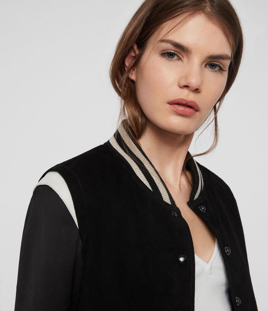 Womens Keiko Suede Bomber Jacket (black_white) - Image 3