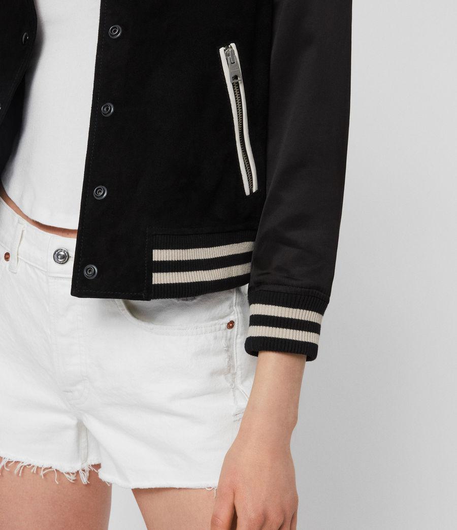 Womens Keiko Suede Bomber Jacket (black_white) - Image 4