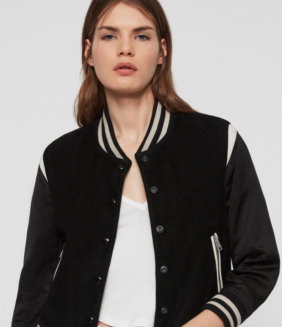 Womens Keiko Suede Bomber Jacket (black_white) - Image 5