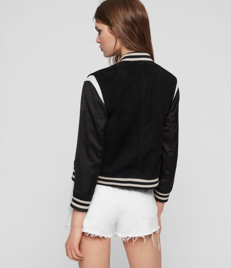 Womens Keiko Suede Bomber Jacket (black_white) - Image 6