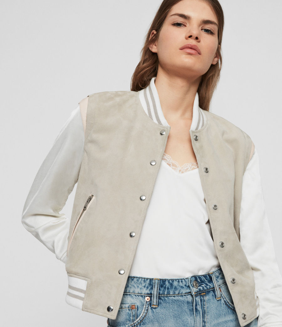 Womens Keiko Suede Bomber Jacket (dove_grey) - Image 1