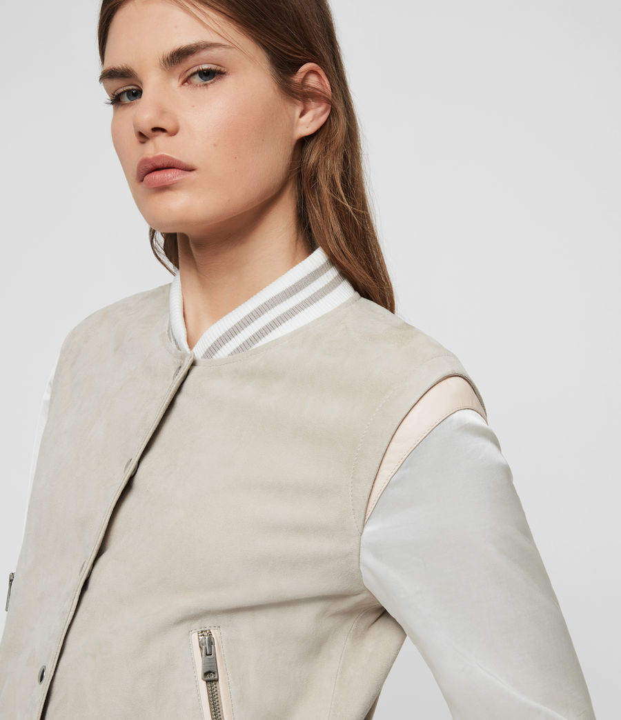 Womens Keiko Suede Bomber Jacket (dove_grey) - Image 2