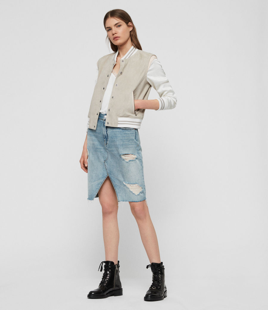 Womens Keiko Suede Bomber Jacket (dove_grey) - Image 3