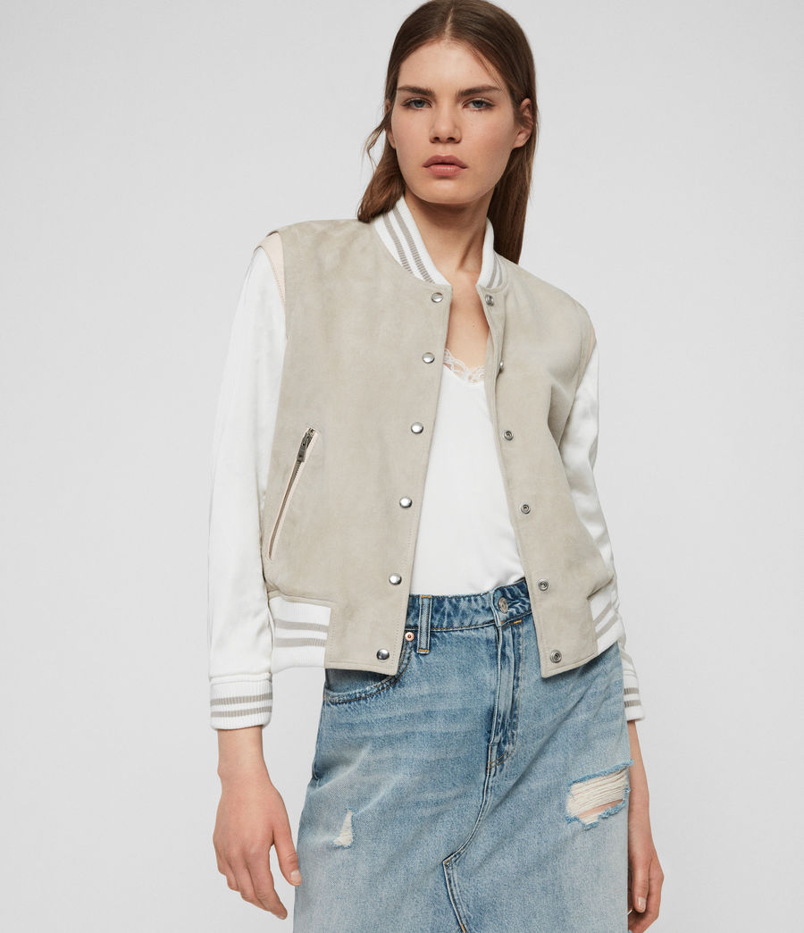 Womens Keiko Suede Bomber Jacket (dove_grey) - Image 4