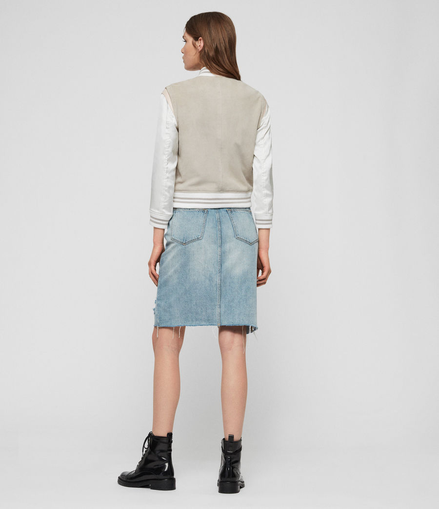 Womens Keiko Suede Bomber Jacket (dove_grey) - Image 5
