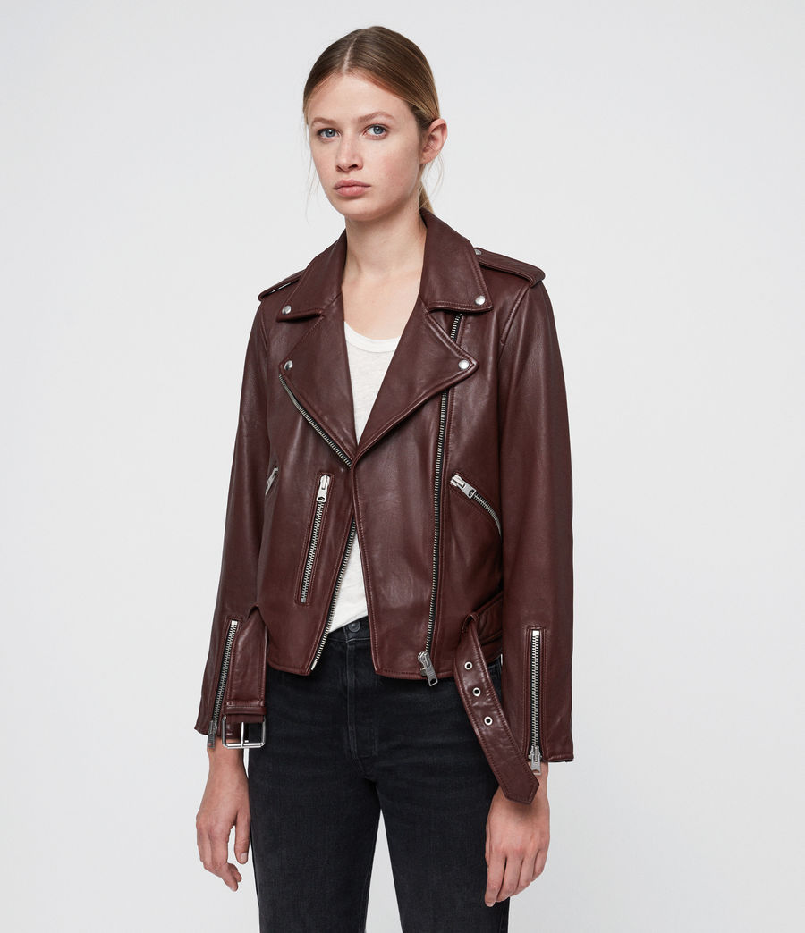Women's Balfern Leather Biker Jacket (tuscan_red) - Image 1