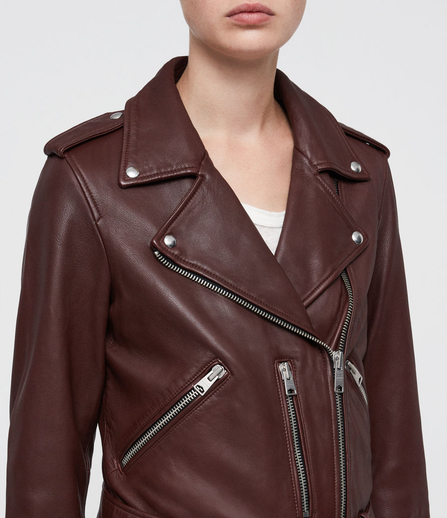 Women's Balfern Leather Biker Jacket (tuscan_red) - Image 2