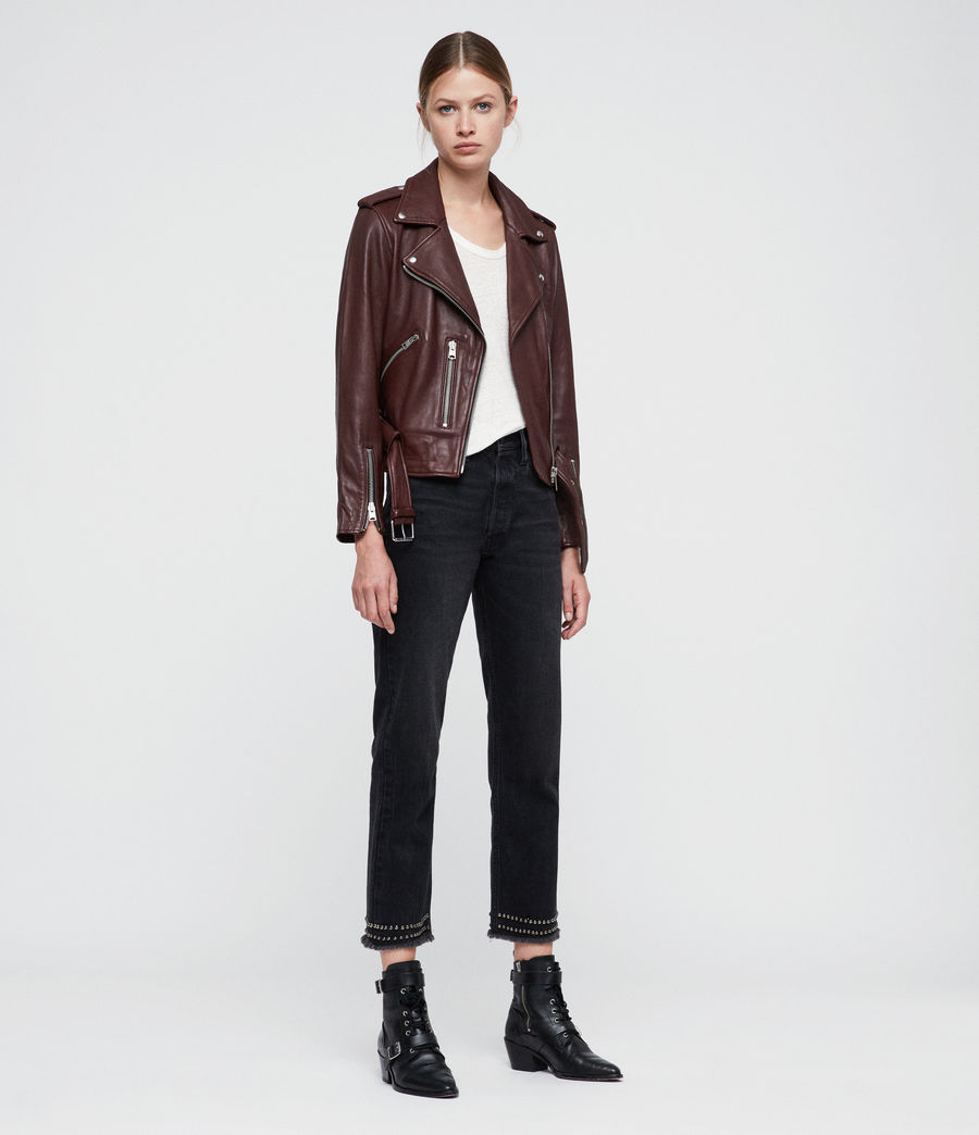 Women's Balfern Leather Biker Jacket (tuscan_red) - Image 3