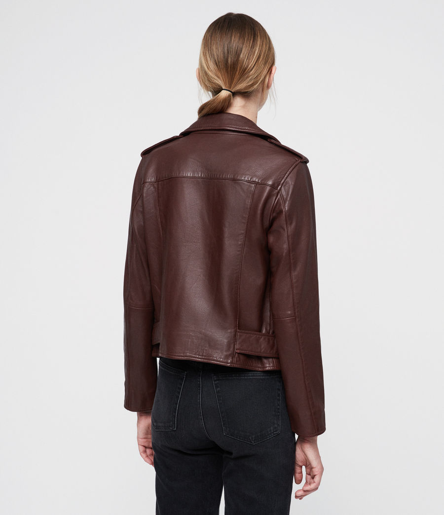 Women's Balfern Leather Biker Jacket (tuscan_red) - Image 4