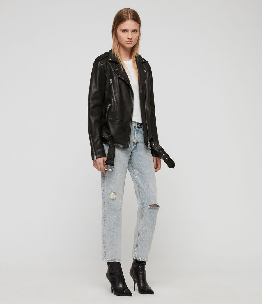 Women's Wade Oversized Leather Biker Jacket (black) - Image 1