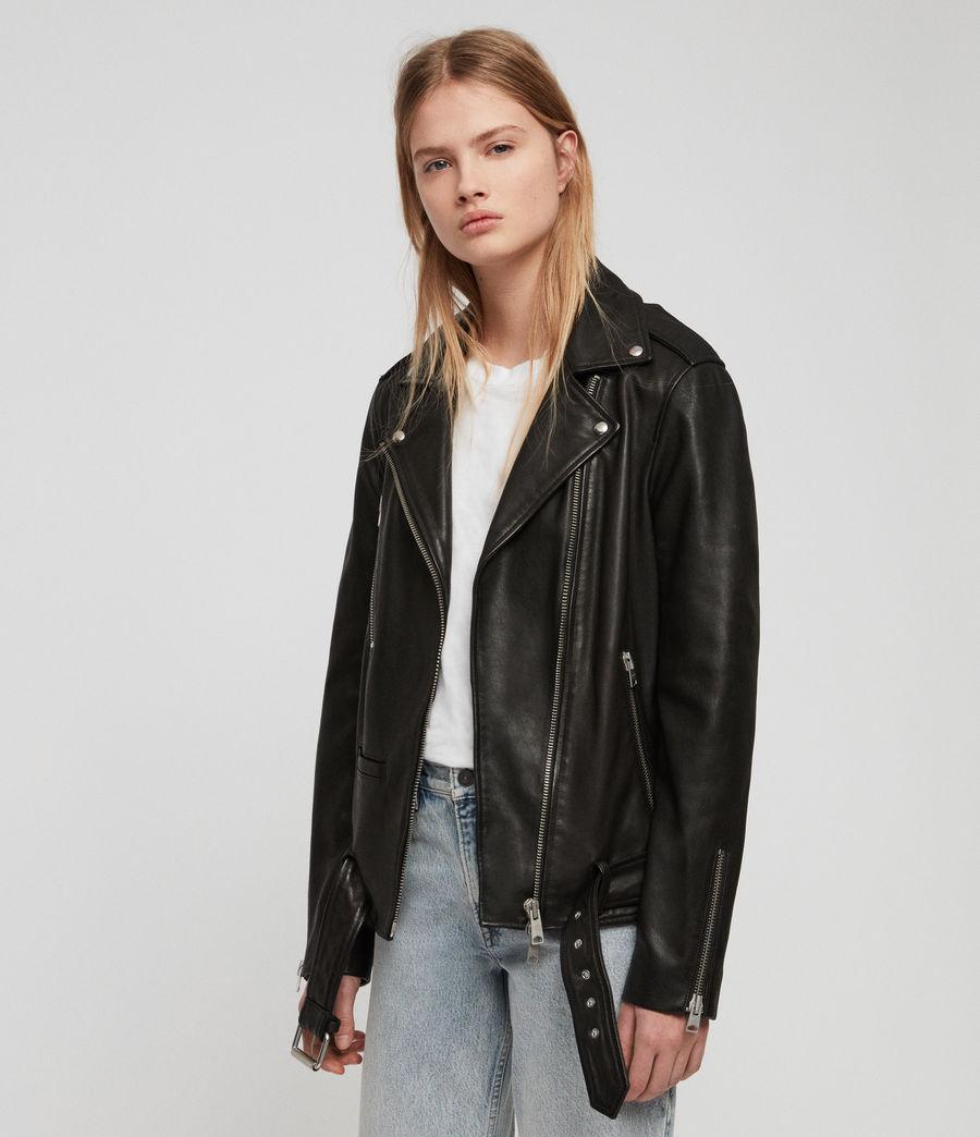 Women's Wade Oversized Leather Biker Jacket (black) - Image 4
