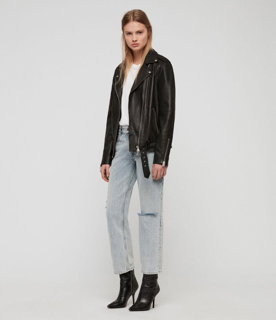 Women's Wade Oversized Leather Biker Jacket (black) - Image 5