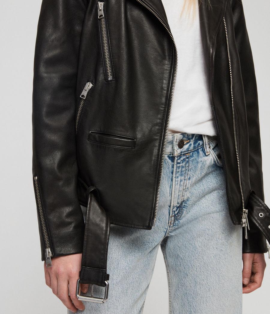 Women's Wade Oversized Leather Biker Jacket (black) - Image 6