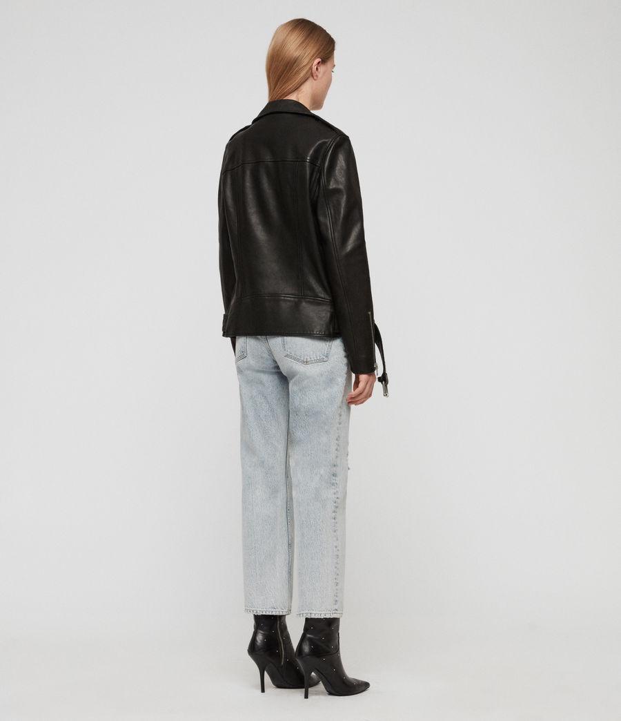 Women's Wade Oversized Leather Biker Jacket (black) - Image 7