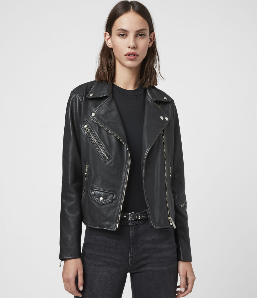 Women's Riley Leather Biker Jacket (black_grey) - Image 1