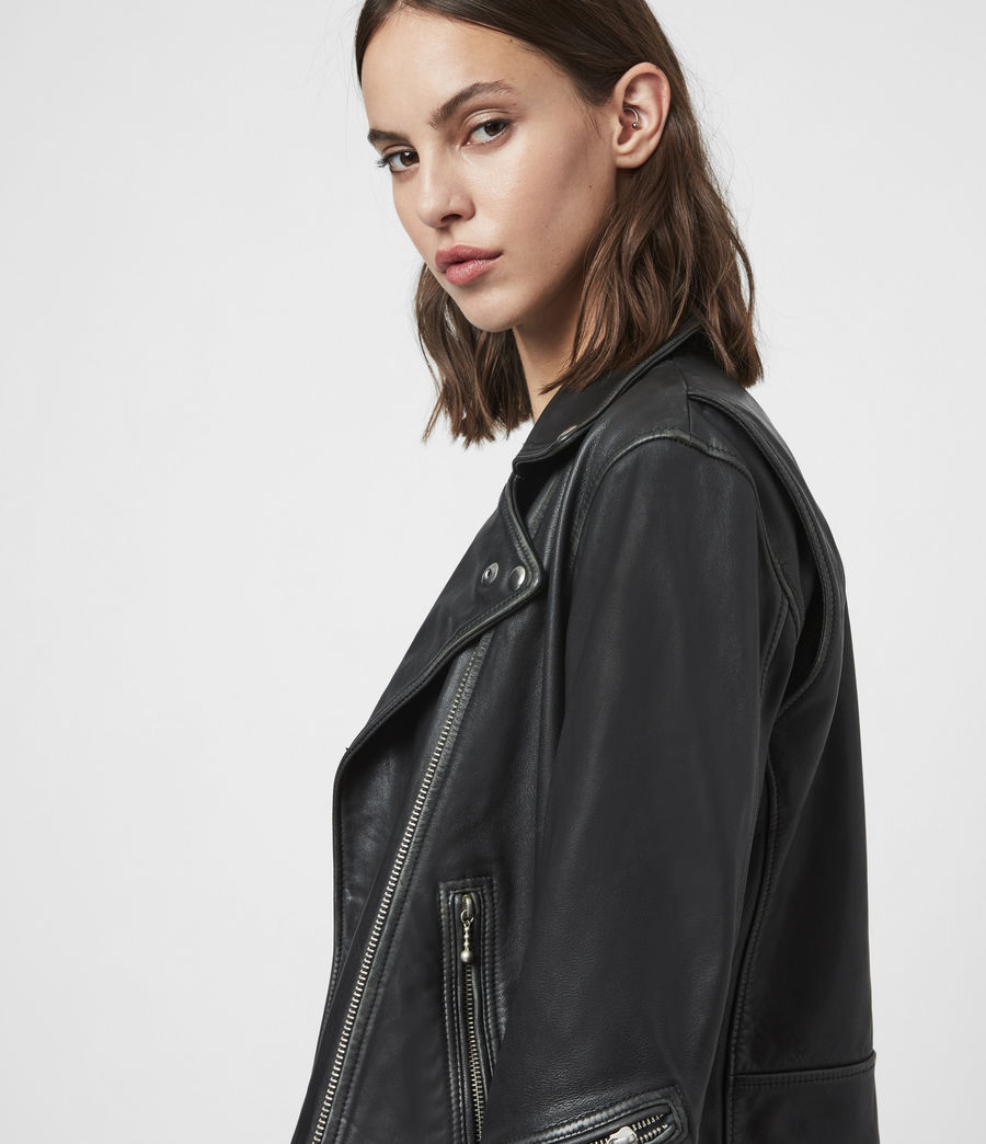 Women's Riley Leather Biker Jacket (black_grey) - Image 2