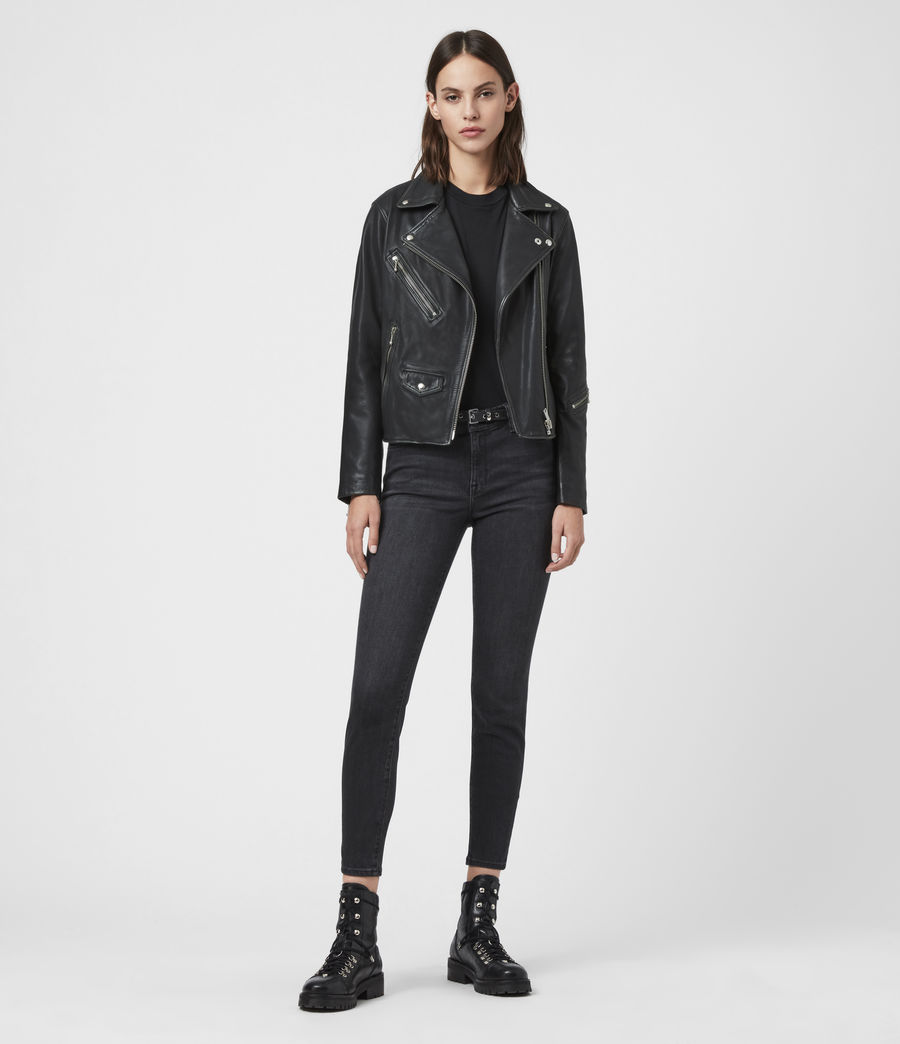 Women's Riley Leather Biker Jacket (black_grey) - Image 3