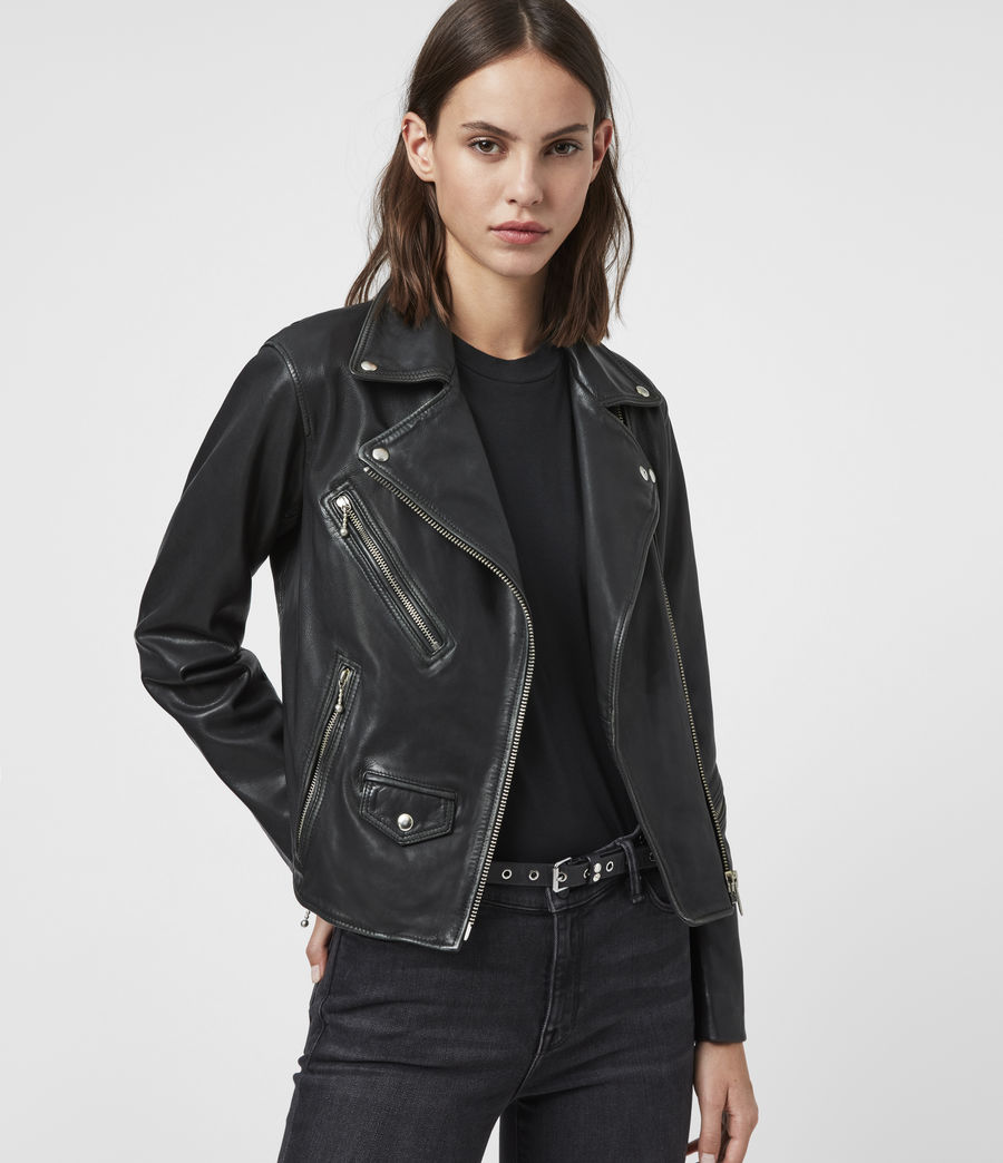Women's Riley Leather Biker Jacket (black_grey) - Image 4