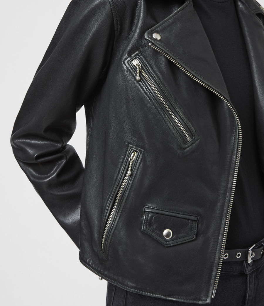 Women's Riley Leather Biker Jacket (black_grey) - Image 5
