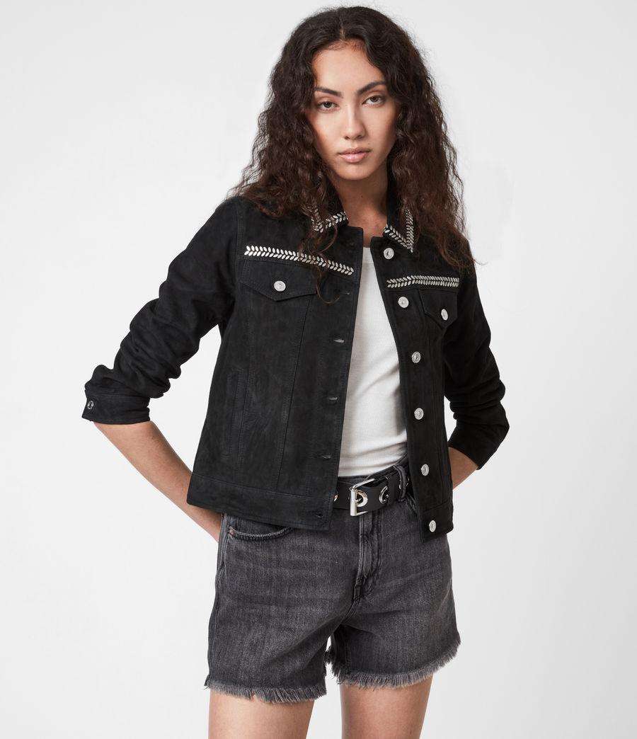 Women's Delvy Suede Trucker Jacket (washed_black) - Image 1