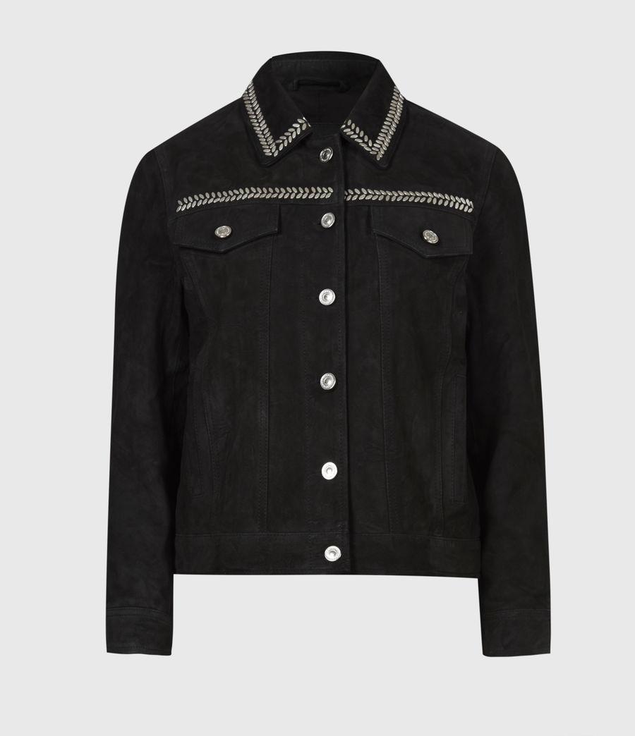 Women's Delvy Suede Trucker Jacket (washed_black) - Image 2