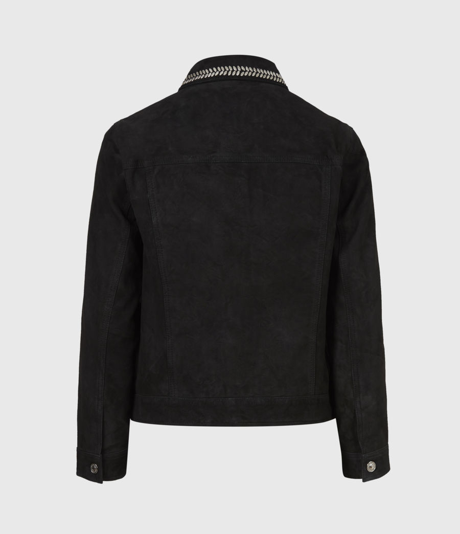 Women's Delvy Suede Trucker Jacket (washed_black) - Image 3