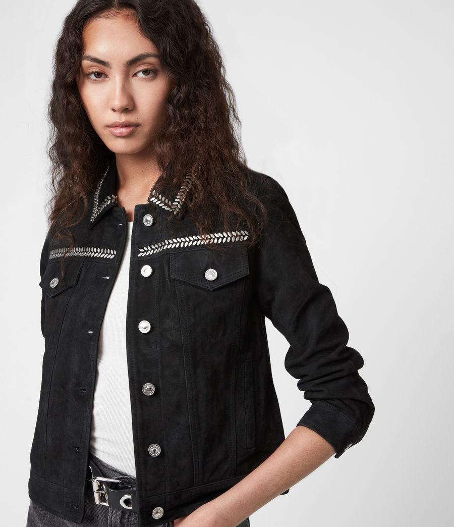 Women's Delvy Suede Trucker Jacket (washed_black) - Image 4