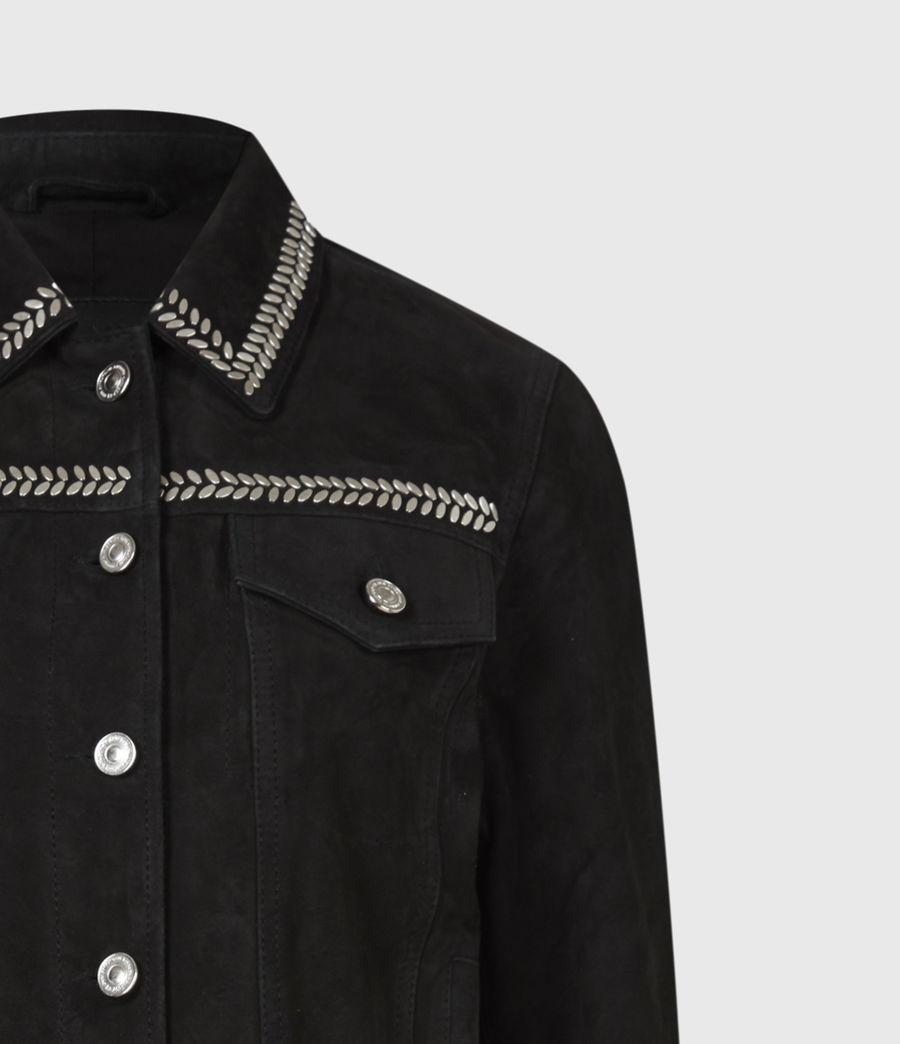 Women's Delvy Suede Trucker Jacket (washed_black) - Image 5