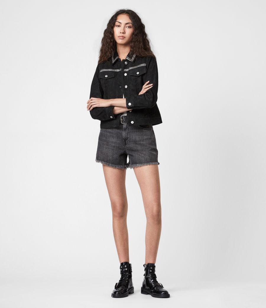 Women's Delvy Suede Trucker Jacket (washed_black) - Image 6