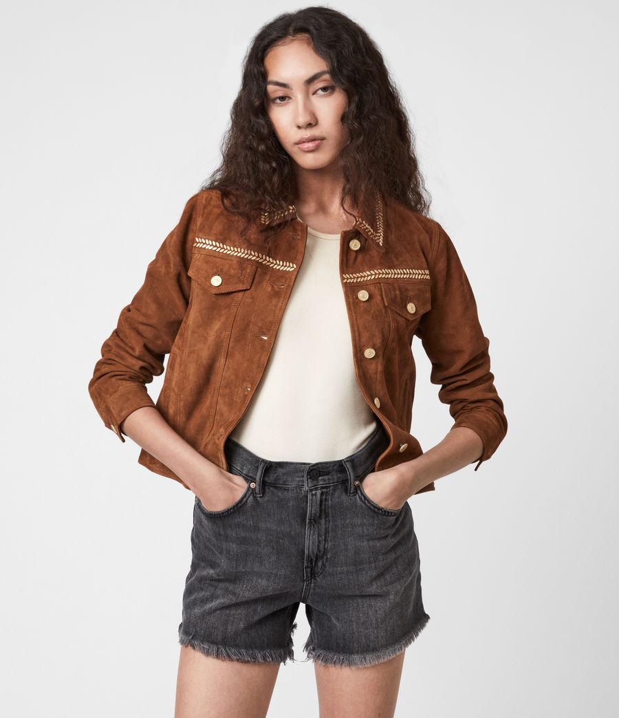 Damen Delvy Suede Trucker Jacket (washed_sand_brown) - Image 1