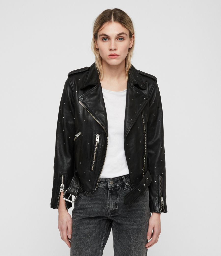 Women's Studded Balfern Leather Biker Jacket (black) - Image 1