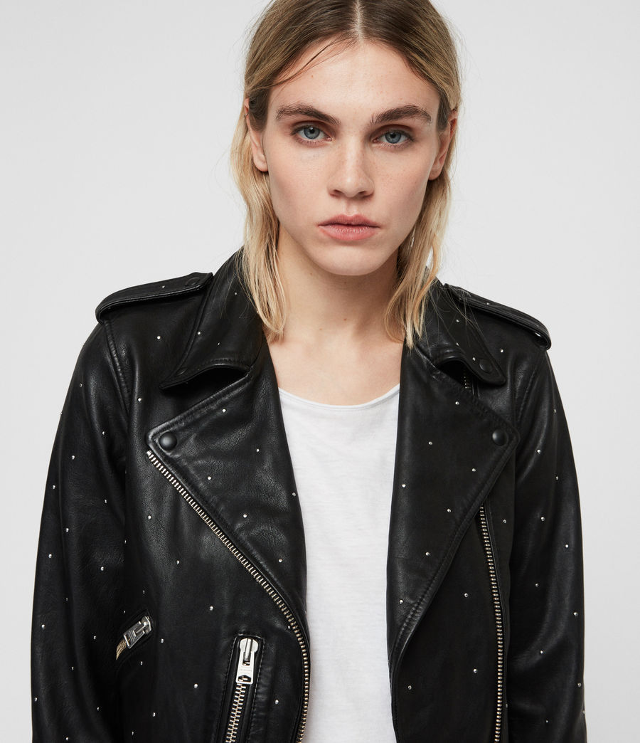 Mujer Studded Balfern Leather Biker Jacket (black) - Image 2