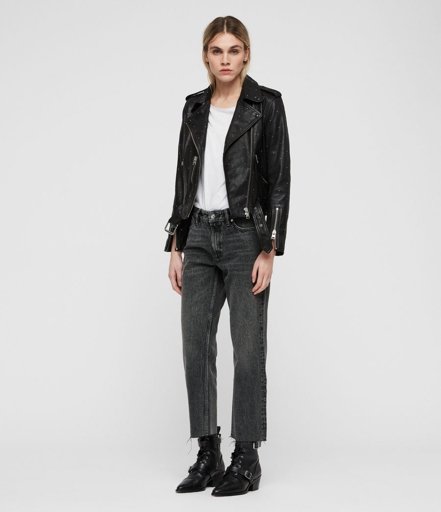 Mujer Studded Balfern Leather Biker Jacket (black) - Image 3