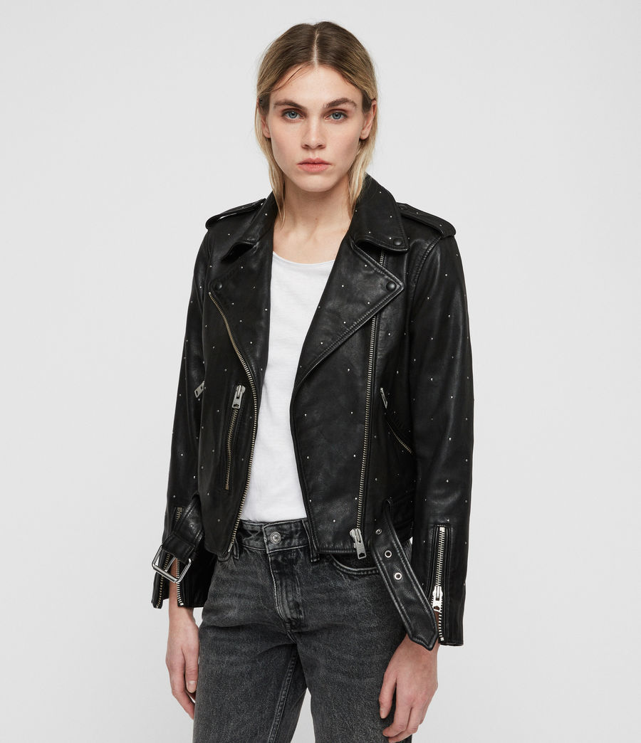 Mujer Studded Balfern Leather Biker Jacket (black) - Image 4
