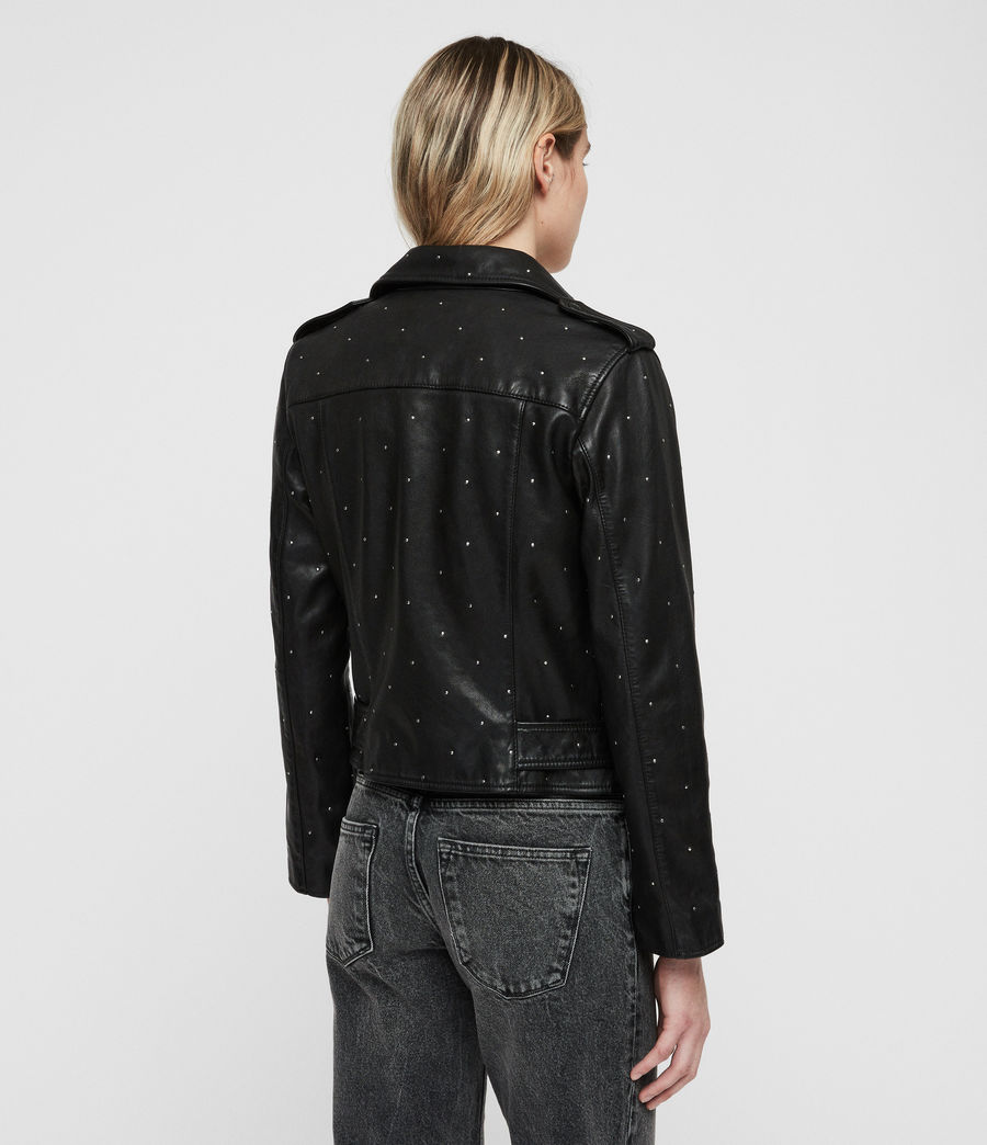 Women's Studded Balfern Leather Biker Jacket (black) - Image 6