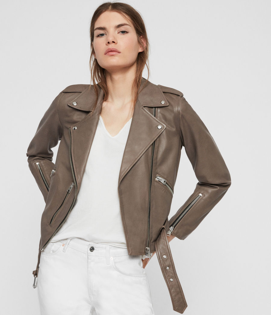 Women's Balfern Leather Biker Jacket (stone) - Image 1