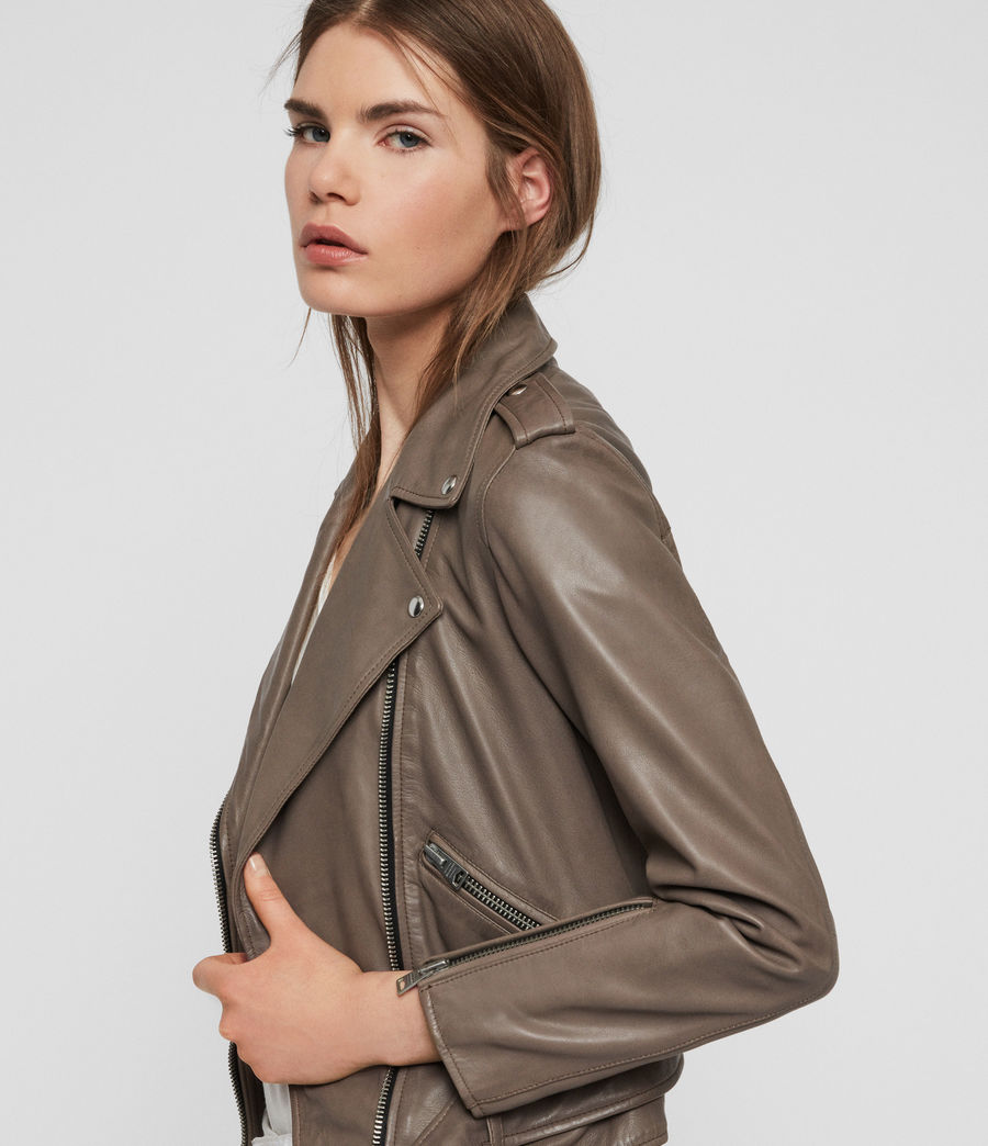 Women's Balfern Leather Biker Jacket (stone) - Image 2