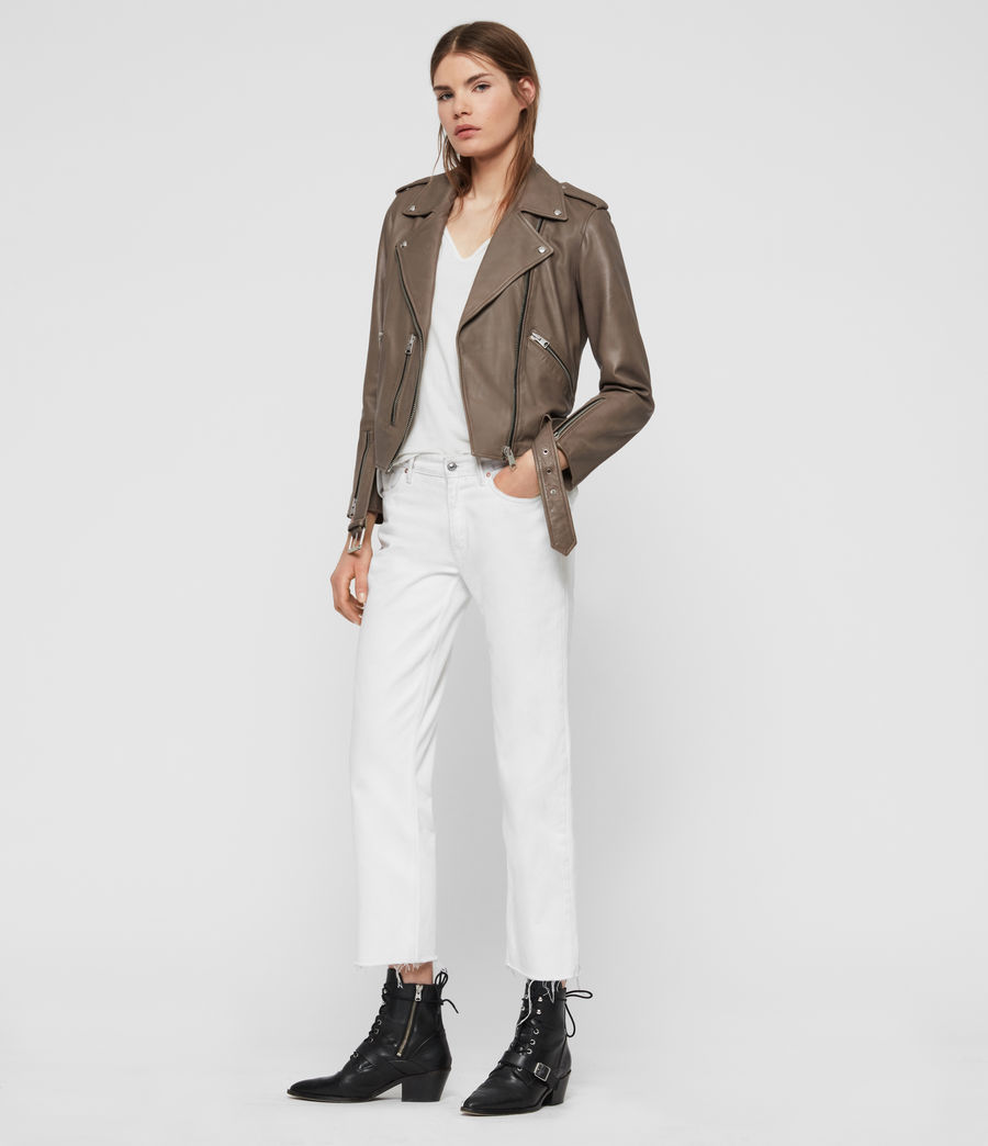 Womens Balfern Leather Biker Jacket (stone) - Image 3