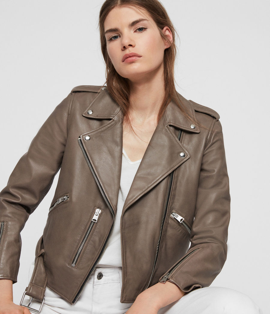Womens Balfern Leather Biker Jacket (stone) - Image 4