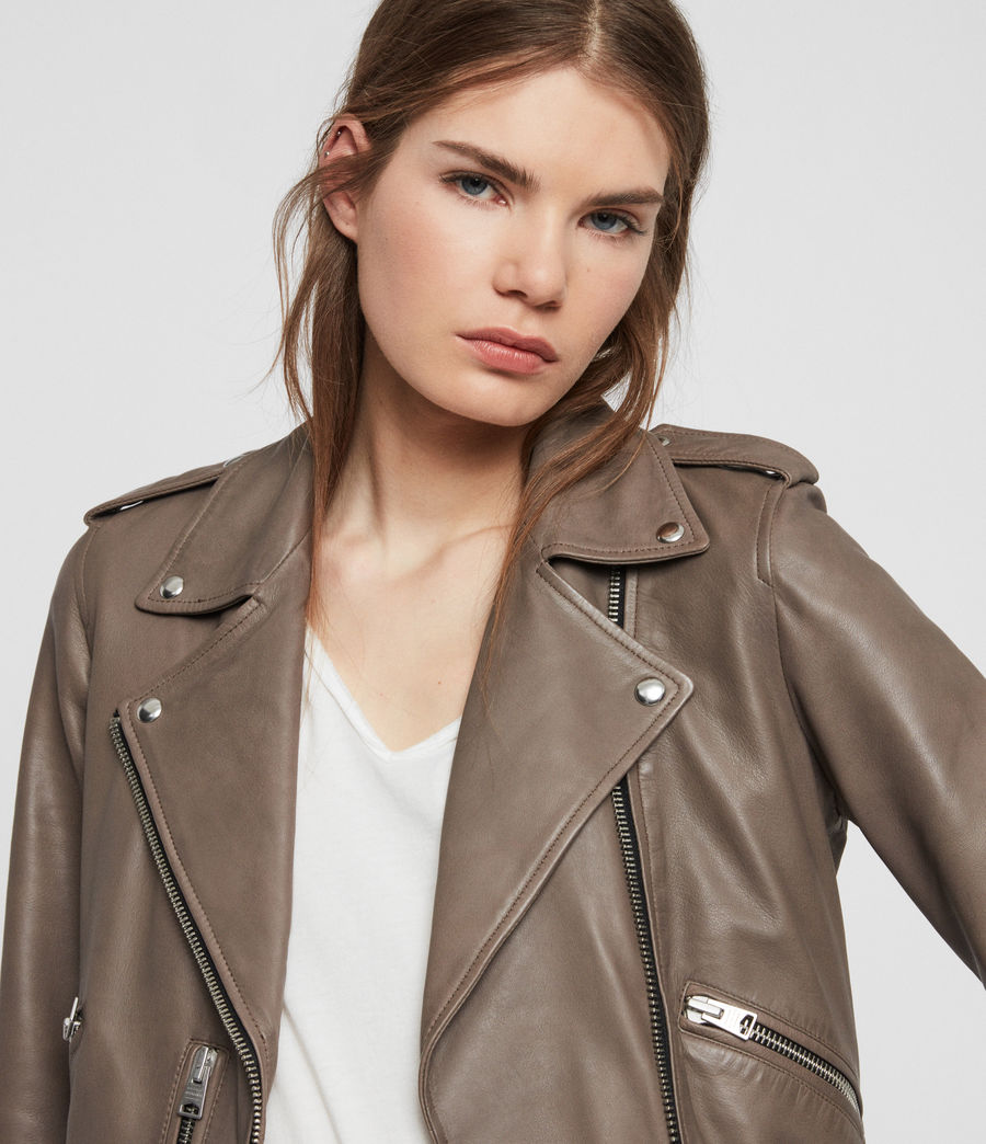 Womens Balfern Leather Biker Jacket (stone) - Image 5