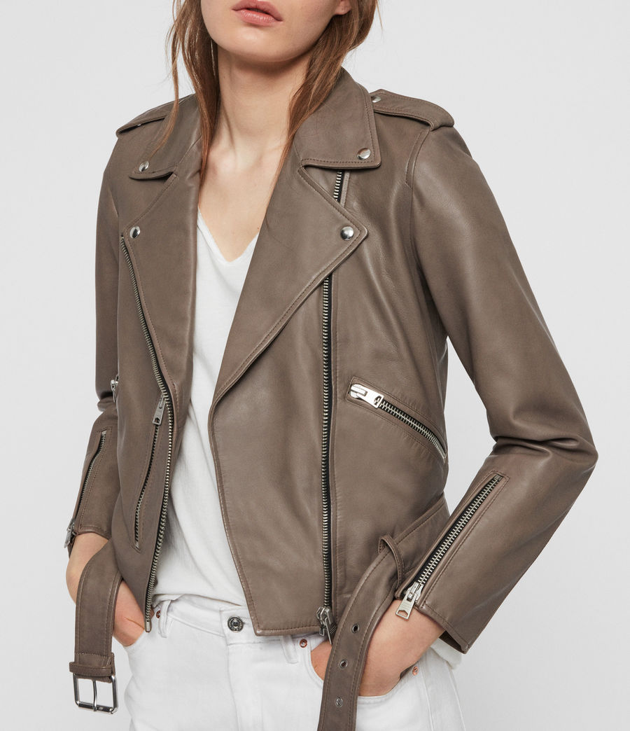 Womens Balfern Leather Biker Jacket (stone) - Image 6