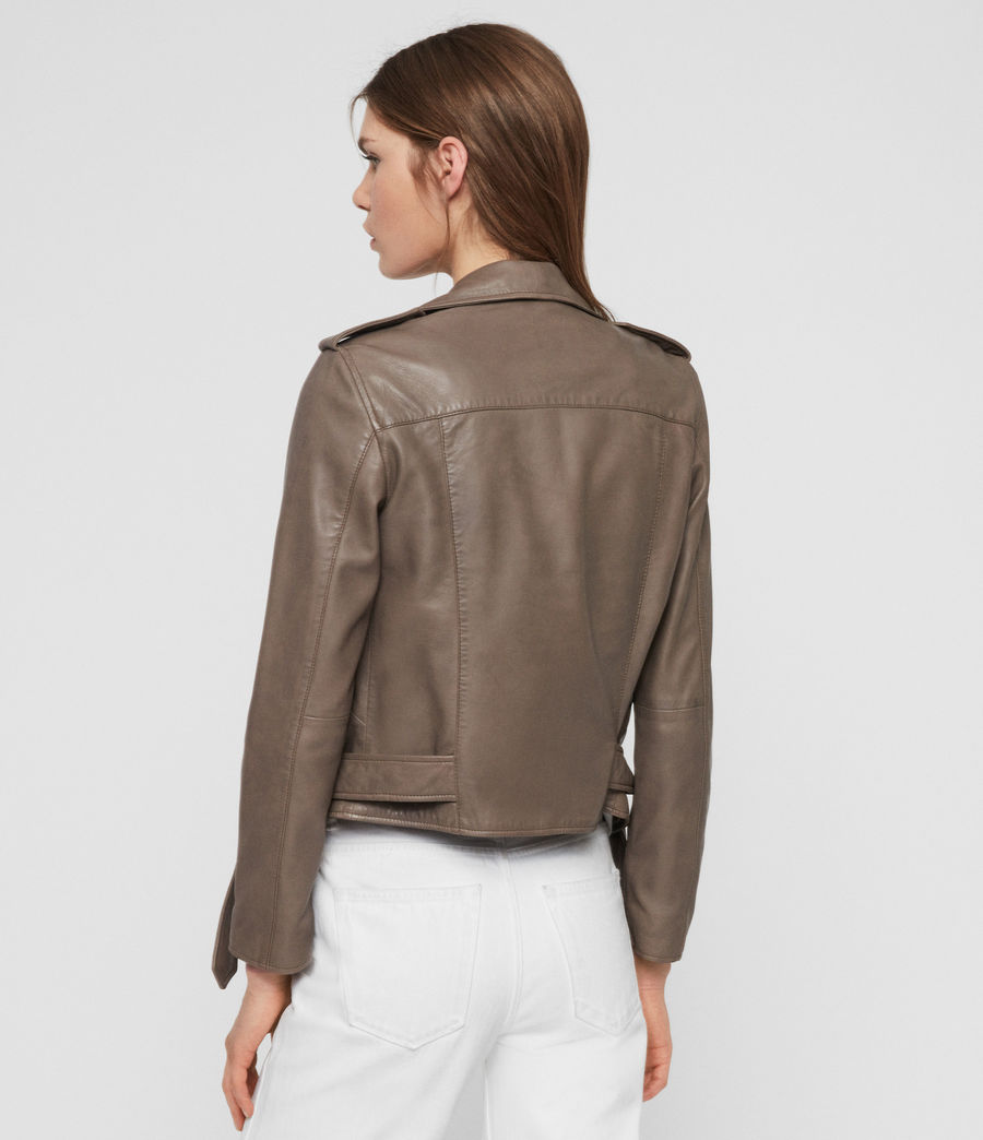 Womens Balfern Leather Biker Jacket (stone) - Image 7