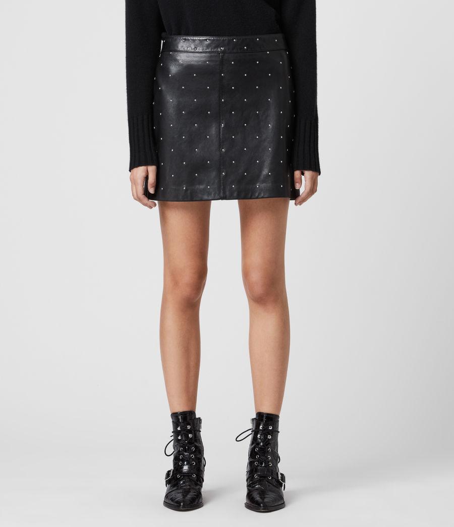Women's Lyra Leather Star Skirt (black) - Image 3