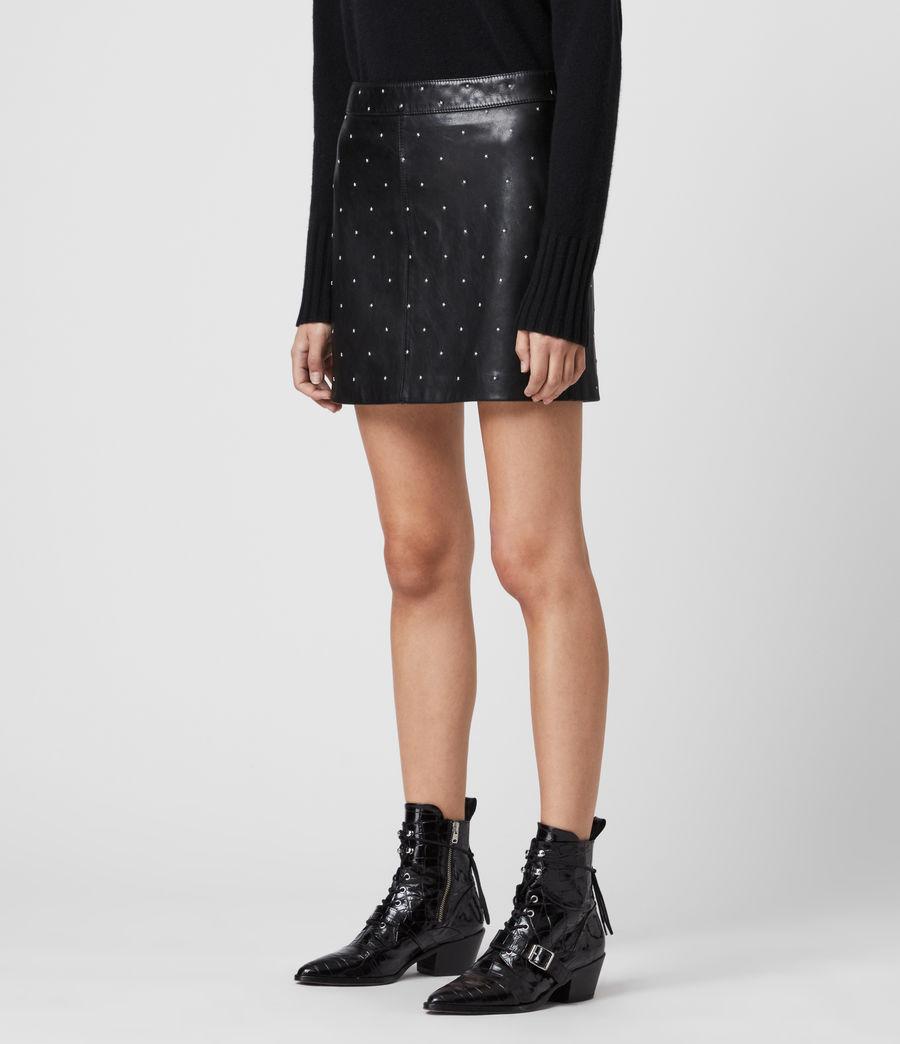 Women's Lyra Leather Star Skirt (black) - Image 4
