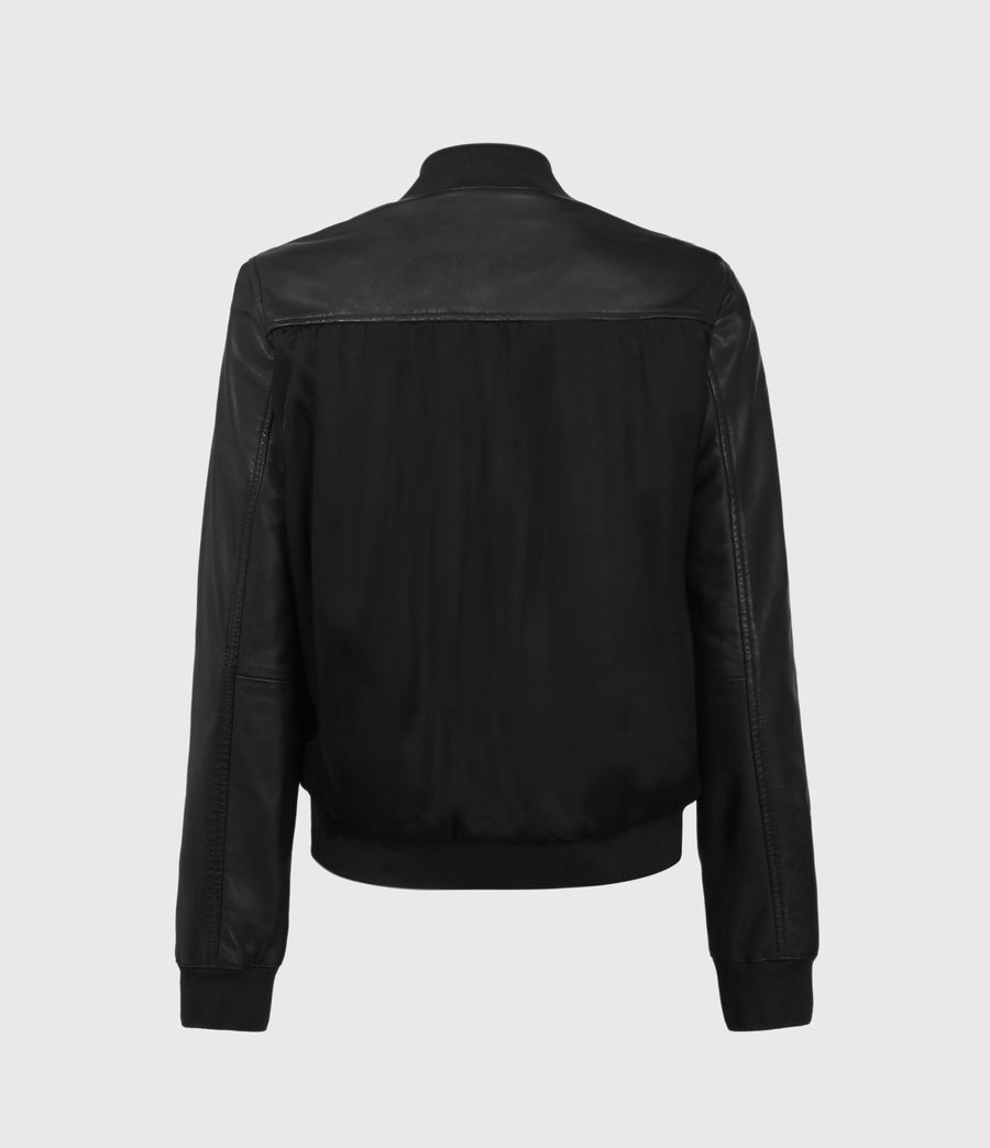 Women's Remy Leather Bomber Jacket (black) - Image 2