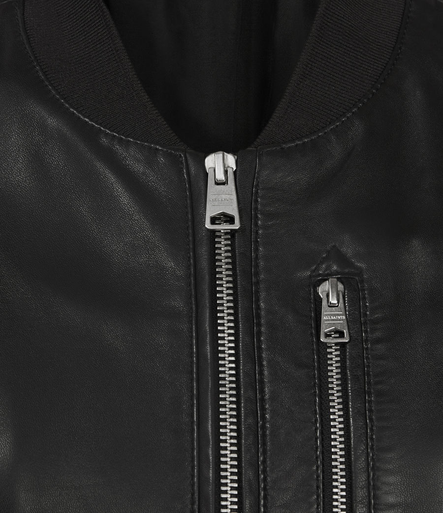 Women's Remy Leather Bomber Jacket (black) - Image 3