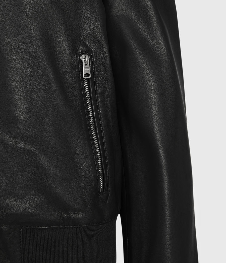 Women's Remy Leather Bomber Jacket (black) - Image 4