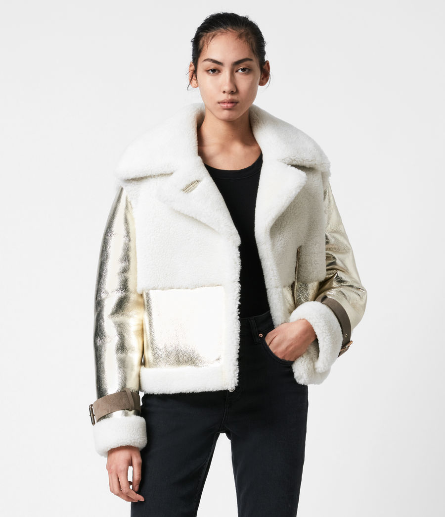 Women's Farley Metallic Shearling Jacket (bright_gold) - Image 1