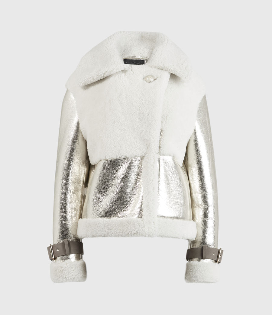 Women's Farley Metallic Shearling Jacket (bright_gold) - Image 2